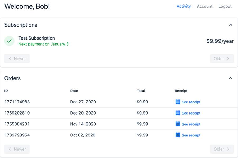 Drop-in Customer Portal