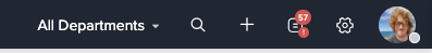 Screenshot of Zoho Desk header showing a red notification bubble.