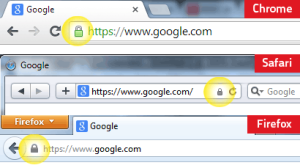 Padlock icons within various browsers