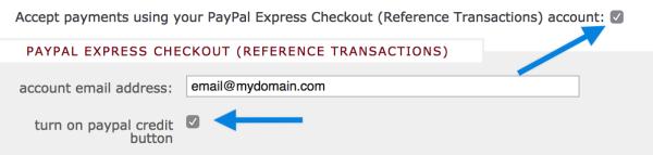 PayPal Credit Config