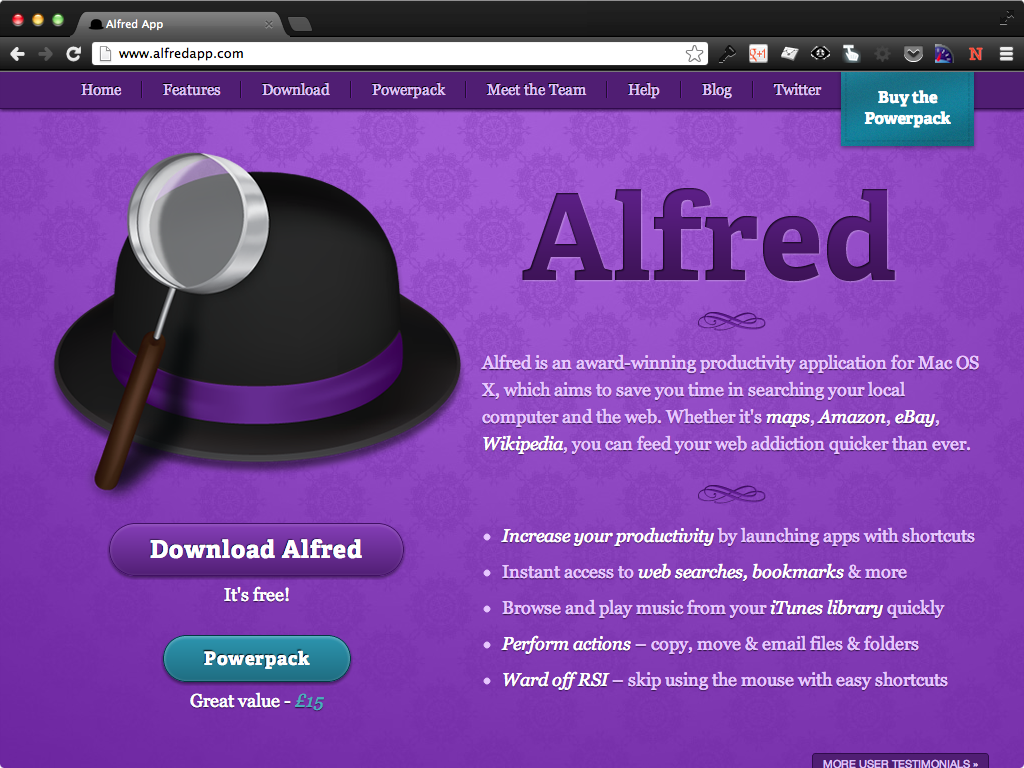 Alfred screenshot