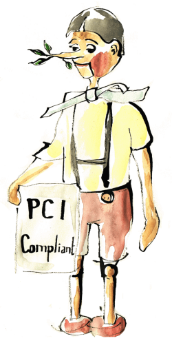 Watercolor of Pinocchio holding a PCI compliance sign. He's a liar.