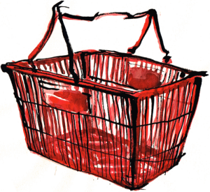 A red plastic shopping cart